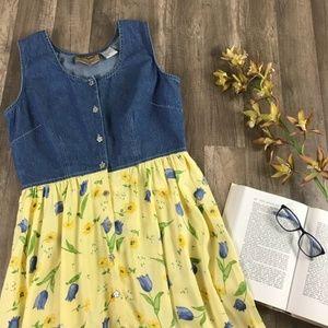 Vintage 90s Denim Sleeveless Yellow Floral Dress